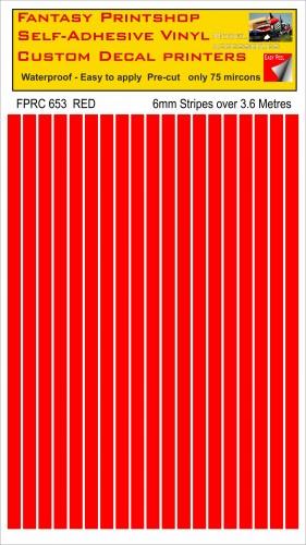 FPRC653 Red 6mm vinyl RC stripes