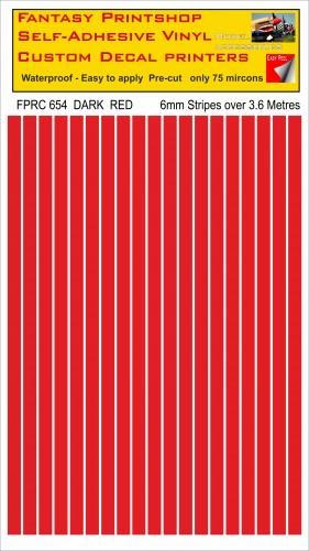 FPRC654 Dark Red 6mm vinyl RC stripes