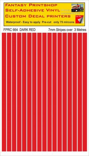 FPRC664 DARK RED 7mm vinyl RC stripes