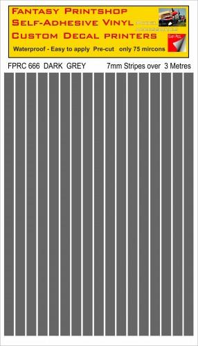 FPRC666 DARK GREY 7mm vinyl RC stripes