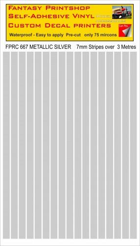 FPRC667 METALLIC SILVER 7mm vinyl RC stripes