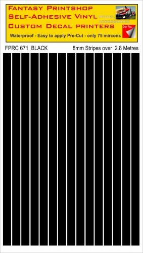FPRC671 BLACK 8mm stripes
