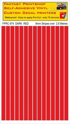 FPRC674 DARK RED 8mm stripes