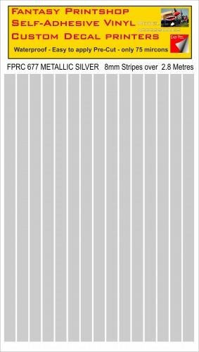 FPRC677 METALLIC SILVER 8mm stripes