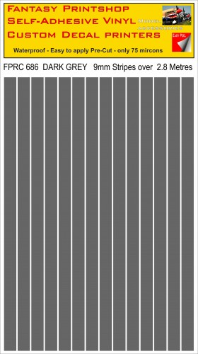 FPRC686 Dark Grey 9mm RC vinyl stripes