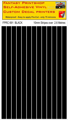 FPRC691 Black 10mm vinyl RC stripes