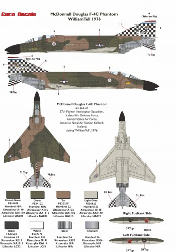 Eurodecals ED-48125 McDonnell Douglas F-4C Phantom William Tell 1976 Decals transfers