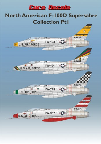 ED48-131 North American F-100D Supersabre Collection Pt1 Decals transfers