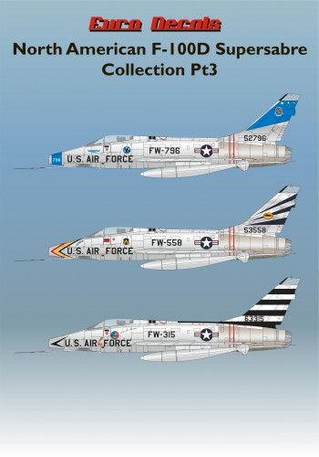 ED48-133 North American F-100D Supersabre Collection Pt1 Decals transfers