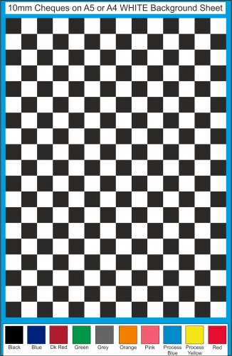 Fantasy Printshop A5 A4 chequered 10MM squares on white background vinyl stickers FPRC710