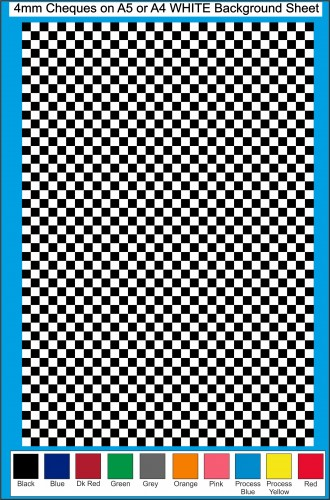 Fantasy Printshop A5 A4 chequered 4MM squares on white background vinyl stickers FPRC704