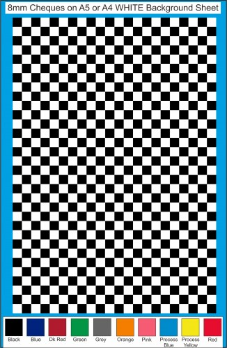 Fantasy Printshop A5 A4 chequered 8MM squares on white background vinyl stickers FPRC708