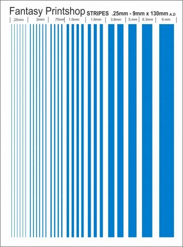 Fantasy Printshop Stripes .25 - 9mm Decals FP617 Mid Blue water slide transfers