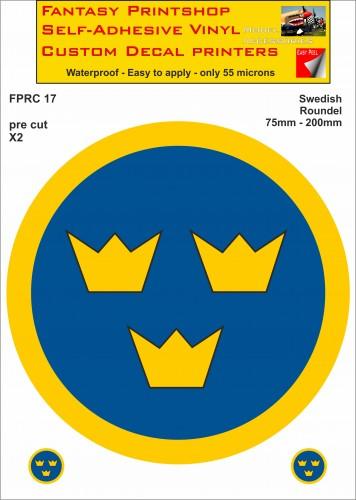 FPRC017 Swedish roundels 75mm - 200mm RC vinyl stickers