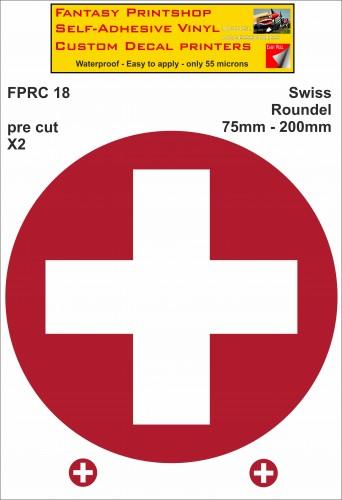 FPRC018 Swiss roundels 75mm - 200mm RC Vinyl Stickers