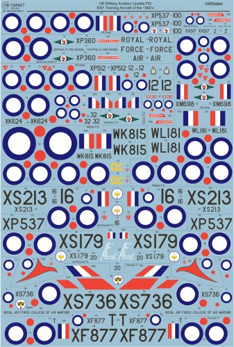 Airgraphics RAF Training Aircraft of the 60's AIR72-014 Decals water slide transfers